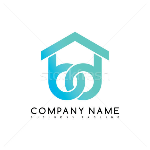 Vector house care emblem blue knot symbol curve looped icon logo logotype Stock photo © vector1st