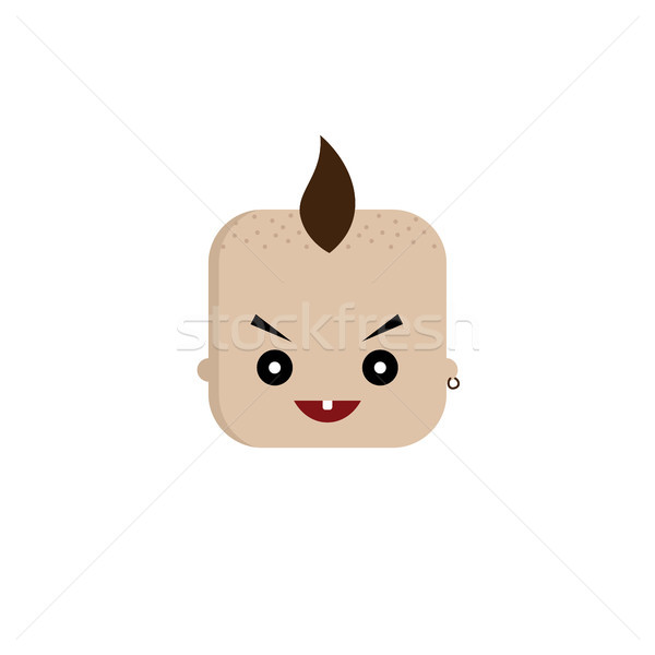 square shape funny expression cartoon head Stock photo © vector1st