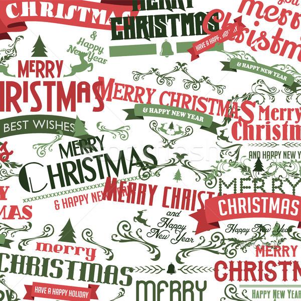 Vidám karácsony boldog új évet vektor művészet felirat Stock fotó © vector1st