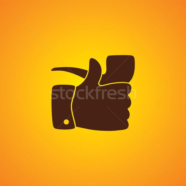 Pipe fumeur comme pouce up vecteur Photo stock © vector1st
