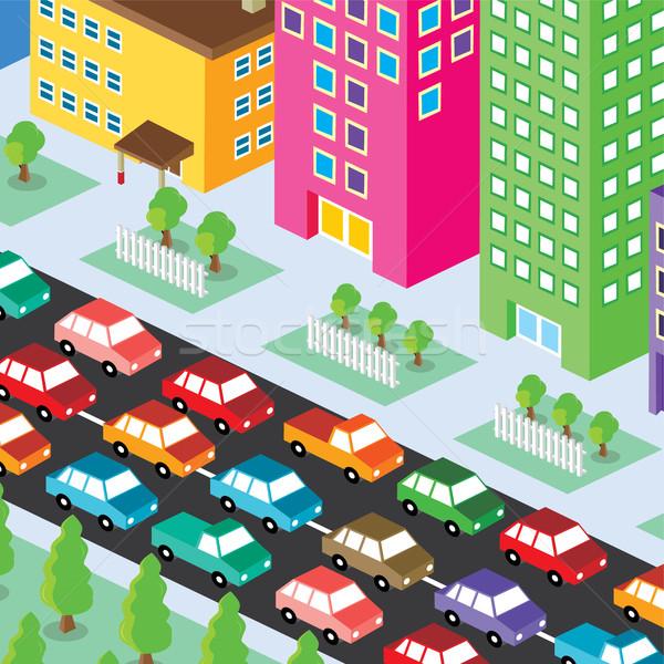 изометрический жилой мнение Cartoon семьи дома Сток-фото © vector1st