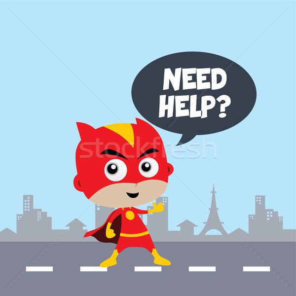 прелестный удивительный Cartoon superhero классический создают Сток-фото © vector1st