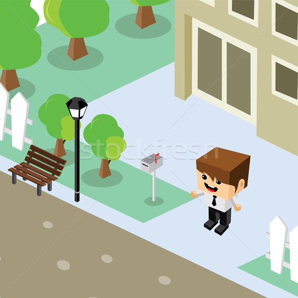 businessman residential home isometric cartoon Stock photo © vector1st