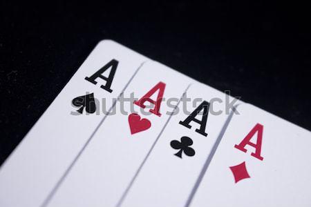 ace poker card on dark black background Stock photo © vector1st
