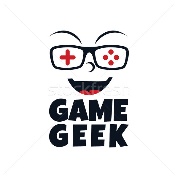 game geek gaming freak logo logotype theme cartoon face Stock photo © vector1st