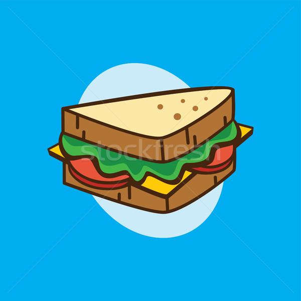Lezzetli sandviç kahvaltı karikatür vektör Stok fotoğraf © vector1st