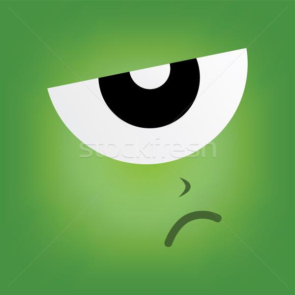 Photo stock: Vert · monstre · personnage · visage · vecteur · art