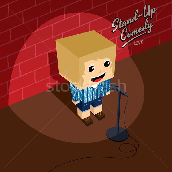 стоять вверх комедия изометрический Cartoon девушки Сток-фото © vector1st