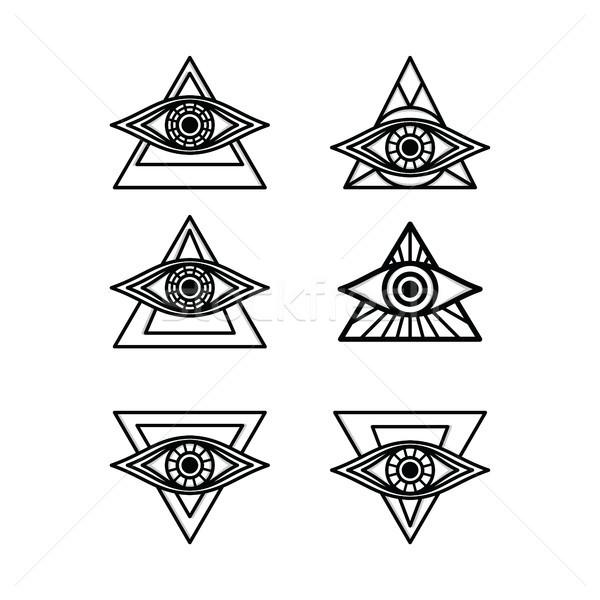 Stock photo: one eye sign symbol logo logotype collection
