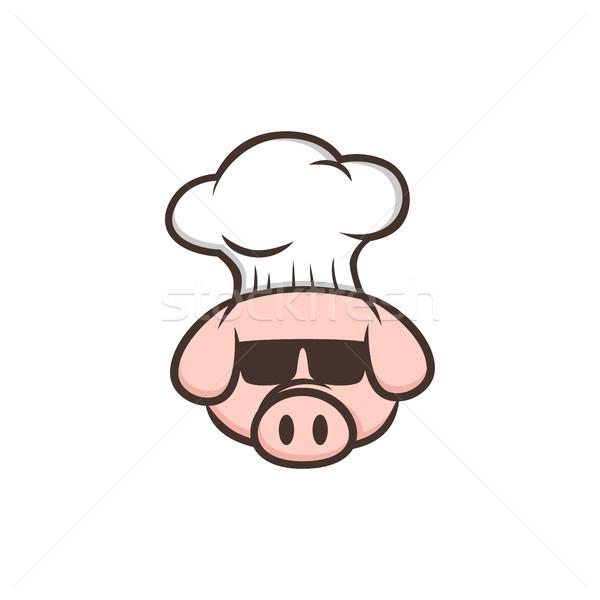 master chef pig pork bacon theme cartoon Stock photo © vector1st