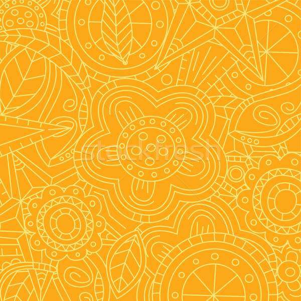 orange floral flower pattern doodle Stock photo © vector1st