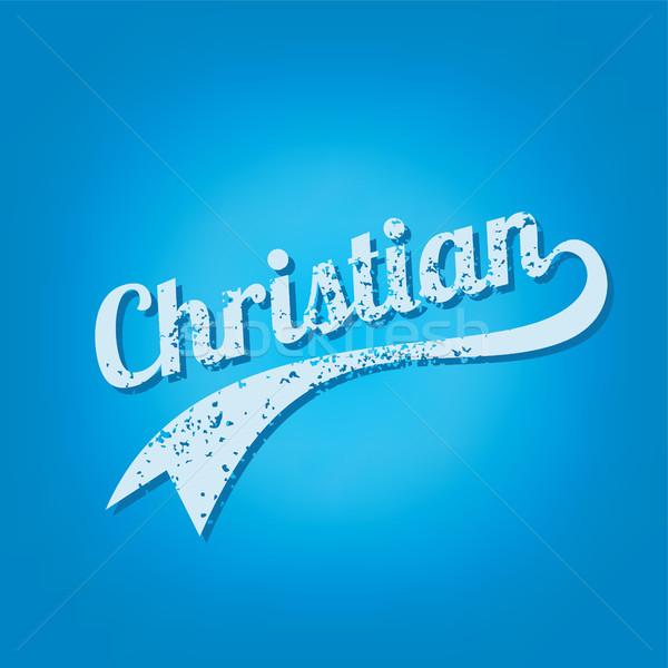 Hristiyan dini Retro metin sanat Stok fotoğraf © vector1st