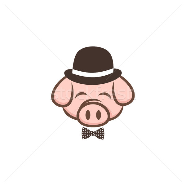 mister pig pork bacon theme cartoon sign Stock photo © vector1st
