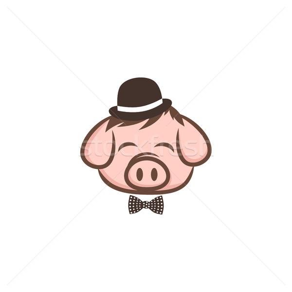 Bay domuz domuz eti domuz pastırması karikatür imzalamak Stok fotoğraf © vector1st