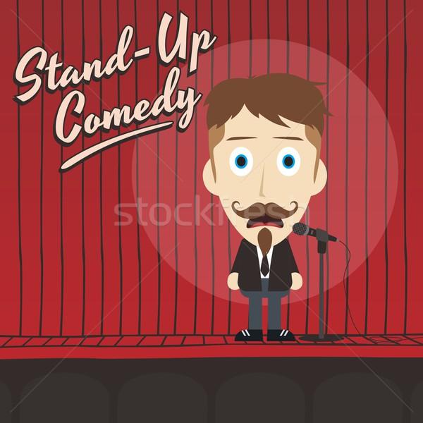 Nevetséges fickó áll felfelé komikus rajz Stock fotó © vector1st