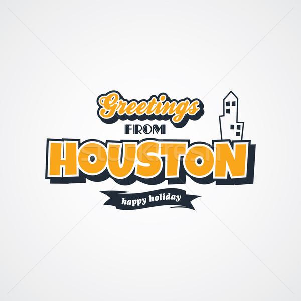 Houston vakáció üdvözlet vektor művészet illusztráció Stock fotó © vector1st