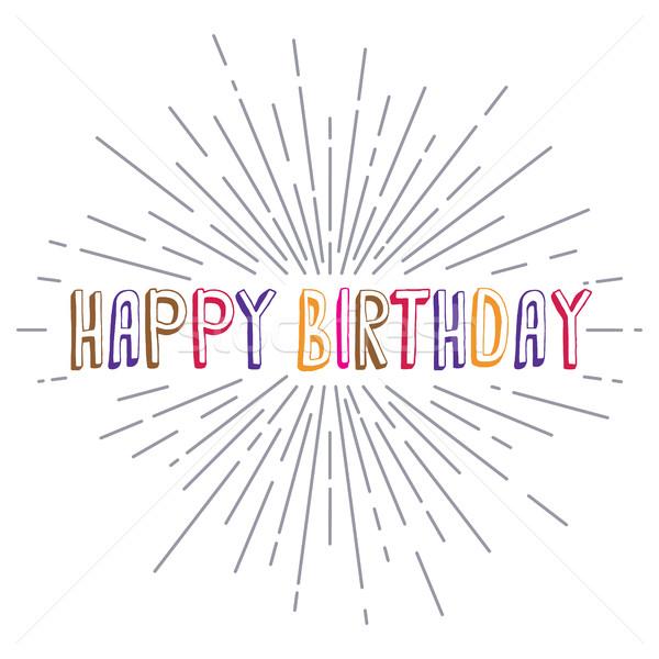 happy birthday greetings sunrays retro theme Stock photo © vector1st