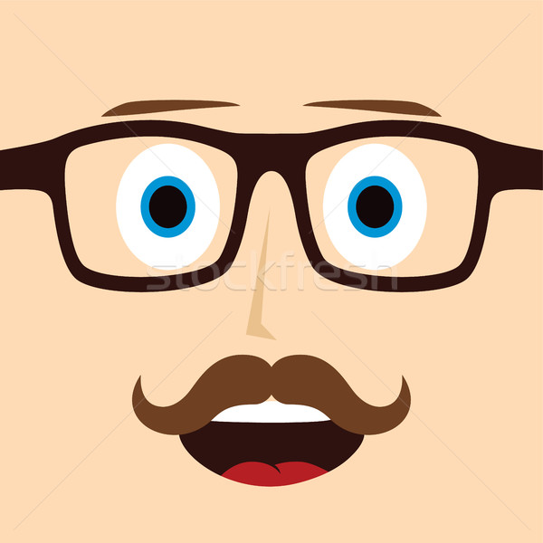 geek mustache guy cartoon character Stock photo © vector1st