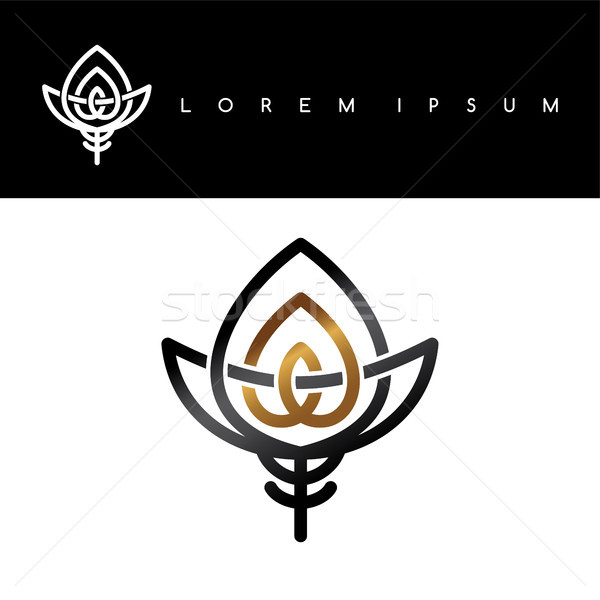 floral gold black abstract floral concept logo logotype Stock photo © vector1st