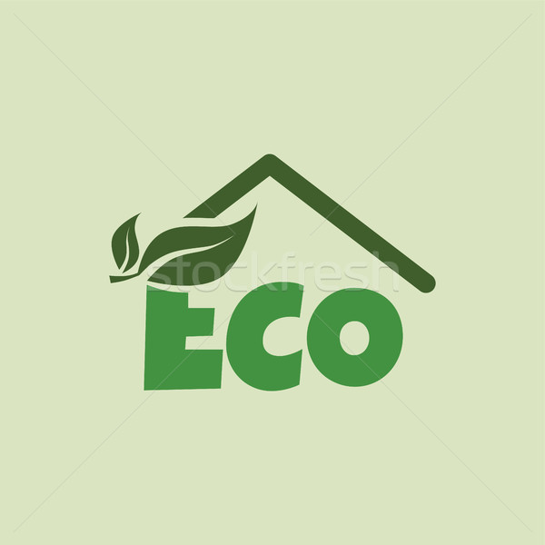eco friendly house natural label organic product sticker logo Stock photo © vector1st