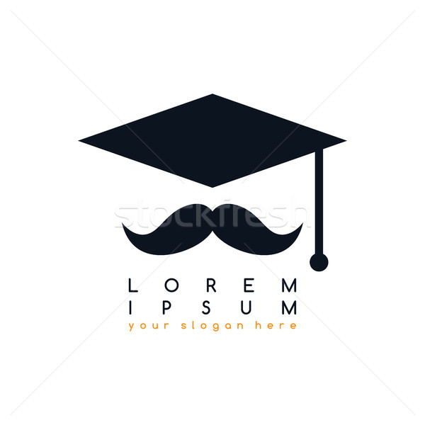 mustache art college graduation hat logo logotype theme vector Stock photo © vector1st