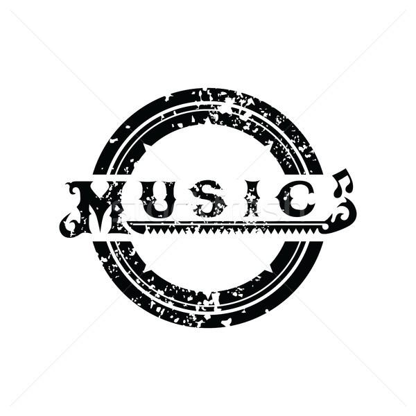 Zene logo logotípus koszos művészet vektor Stock fotó © vector1st