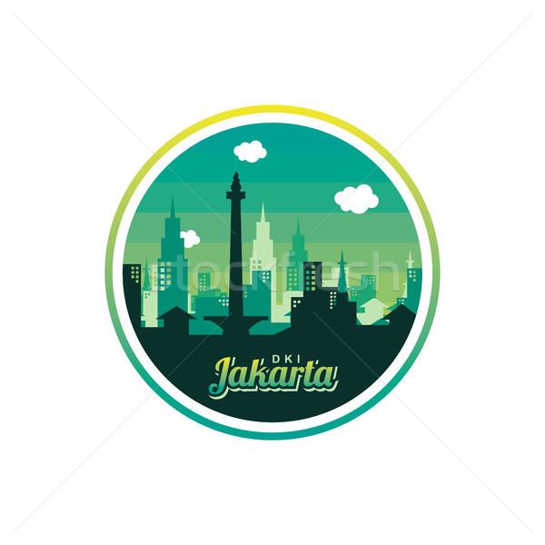 şehir Cakarta etiket rozet etiket logo Stok fotoğraf © vector1st