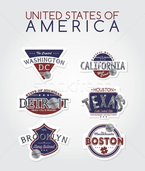 Америки эмблема графических искусства дизайна Label Сток-фото © vector1st
