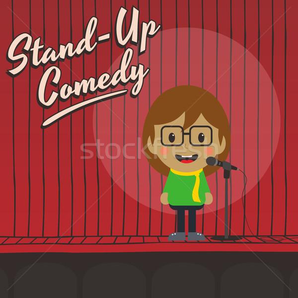 Női áll felfelé komikus rajzfilmfigura zene Stock fotó © vector1st