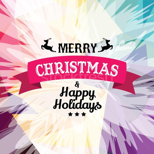 Stock fotó: Kívánság · vidám · karácsony · színes · szöveg · vektor