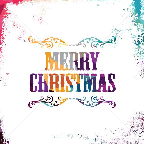 Alegre Navidad colorido triángulo geométrico Foto stock © vector1st