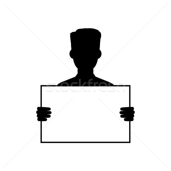 Sziluett fickó tart üres tábla vektor művészet Stock fotó © vector1st