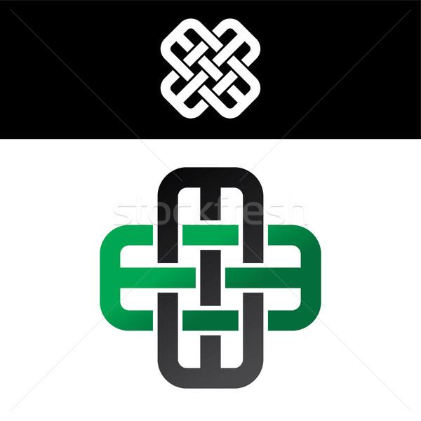 Kelta zöld fekete absztrakt virágmintás logo Stock fotó © vector1st