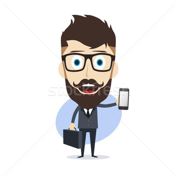 Zakenman cartoon vector kunst illustratie Stockfoto © vector1st