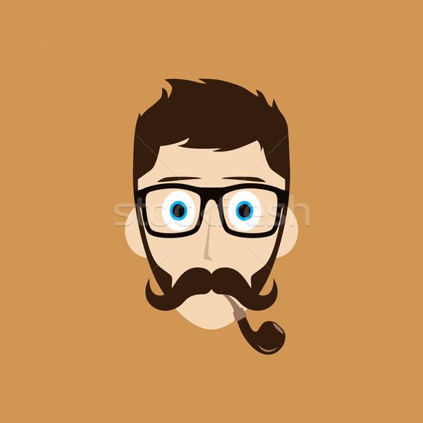 Pipe fumeur Guy cartoon vecteur art Photo stock © vector1st