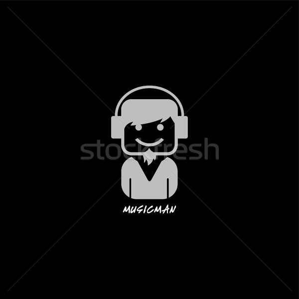 music disk jockey with headphone logotype Stock photo © vector1st