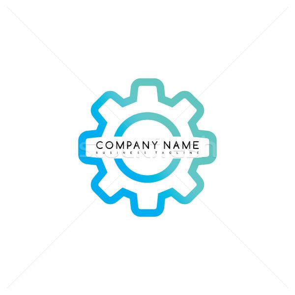 Roda dentada marca modelo logotipo vetor Foto stock © vector1st