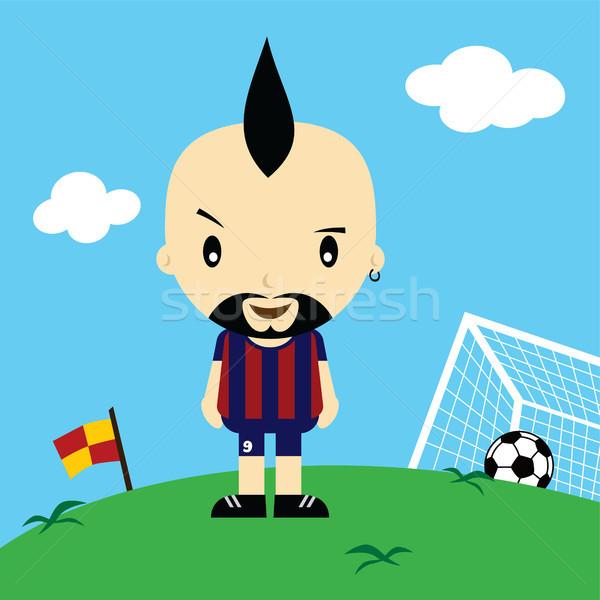 Komik karikatür futbolcu lig vektör sanat Stok fotoğraf © vector1st