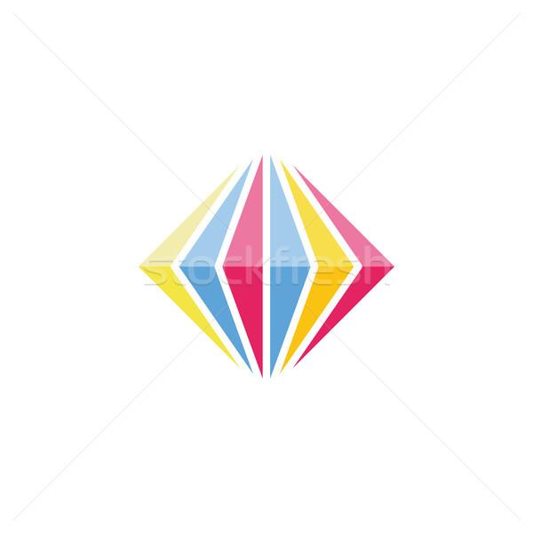 Elmas renkli imzalamak simge vektör Stok fotoğraf © vector1st