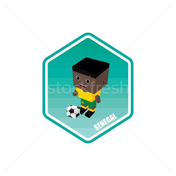 Futball izometrikus Szenegál vektor művészet rajz Stock fotó © vector1st