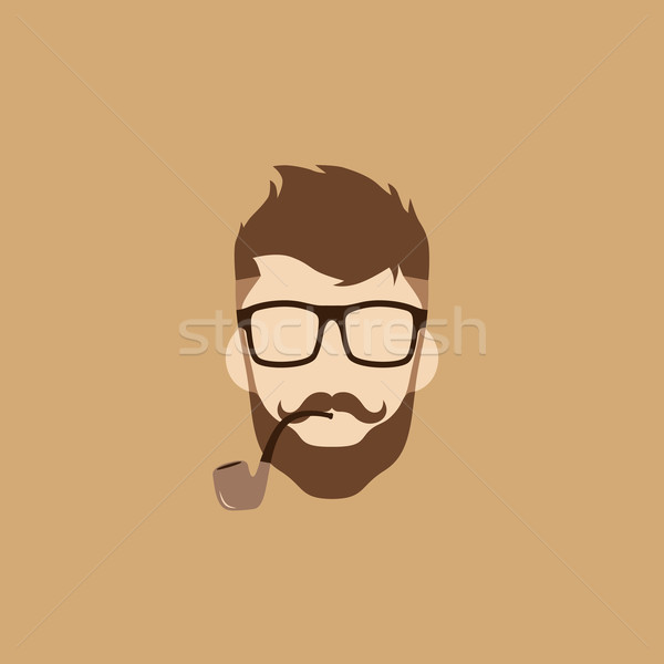 tobacco pipe hipster guy Stock photo © vector1st