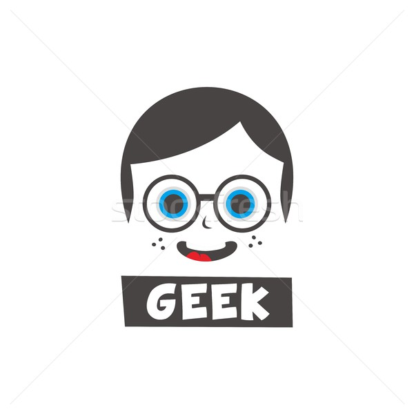 Genç geek karikatür vektör sanat örnek Stok fotoğraf © vector1st