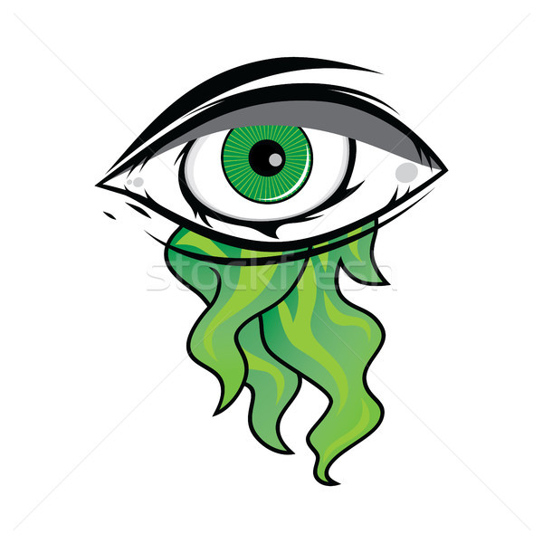 The All Seeing Eye - Green Firey Flame Illuminati Freemasonry Vector Stock photo © vector1st