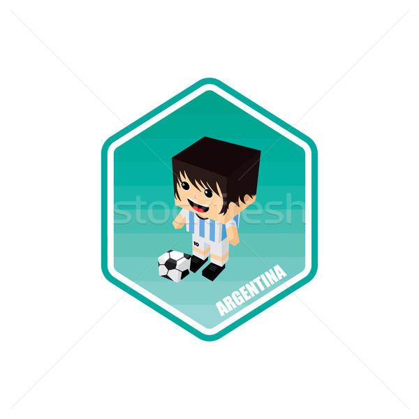 Futball izometrikus Argentína vektor művészet rajz Stock fotó © vector1st