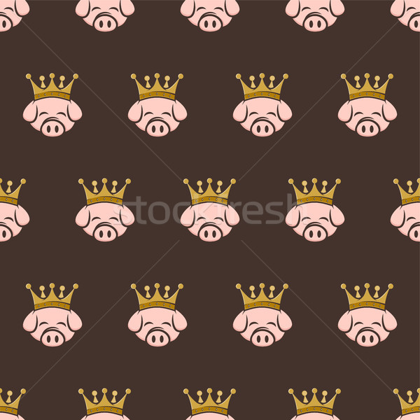Király disznó korona disznóhús szalonna végtelen minta Stock fotó © vector1st