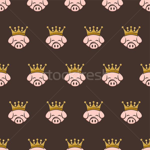Rey cerdo corona cerdo tocino Foto stock © vector1st