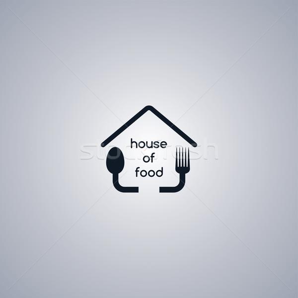 Ev yapımı ev gıda logo şablon restoran Stok fotoğraf © vector1st