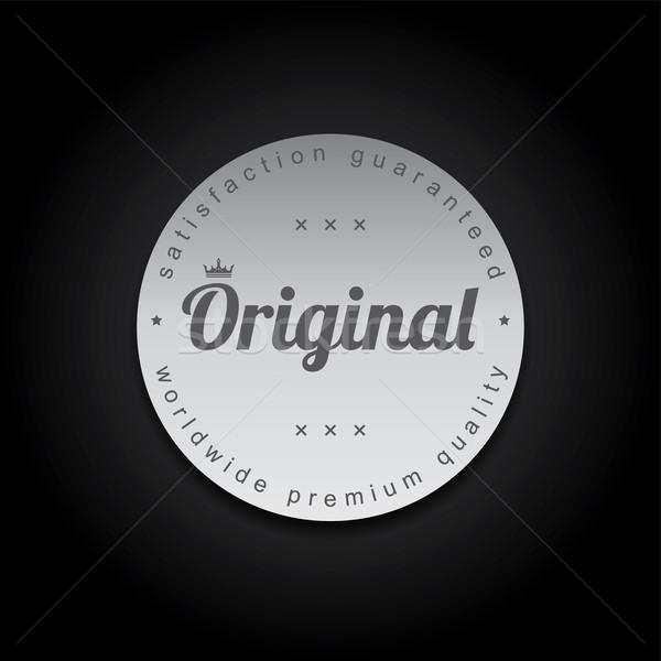 серебро Знак Label вектора искусства иллюстрация Сток-фото © vector1st