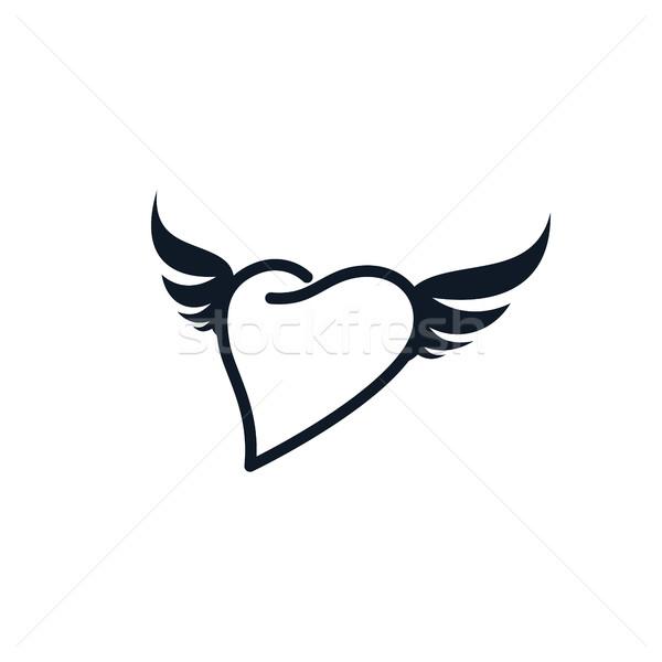 крыло формы сердца любви вектора искусства иллюстрация Сток-фото © vector1st