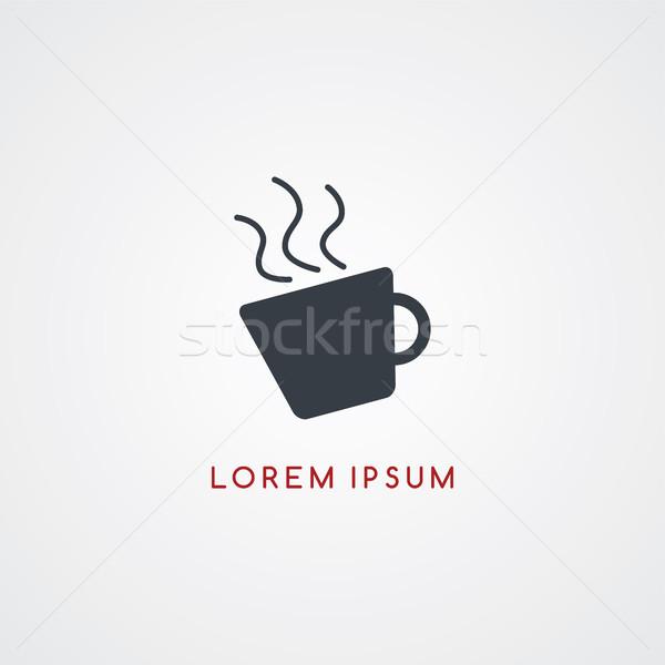 Kávé étterem ikon felirat logotípus vektor Stock fotó © vector1st